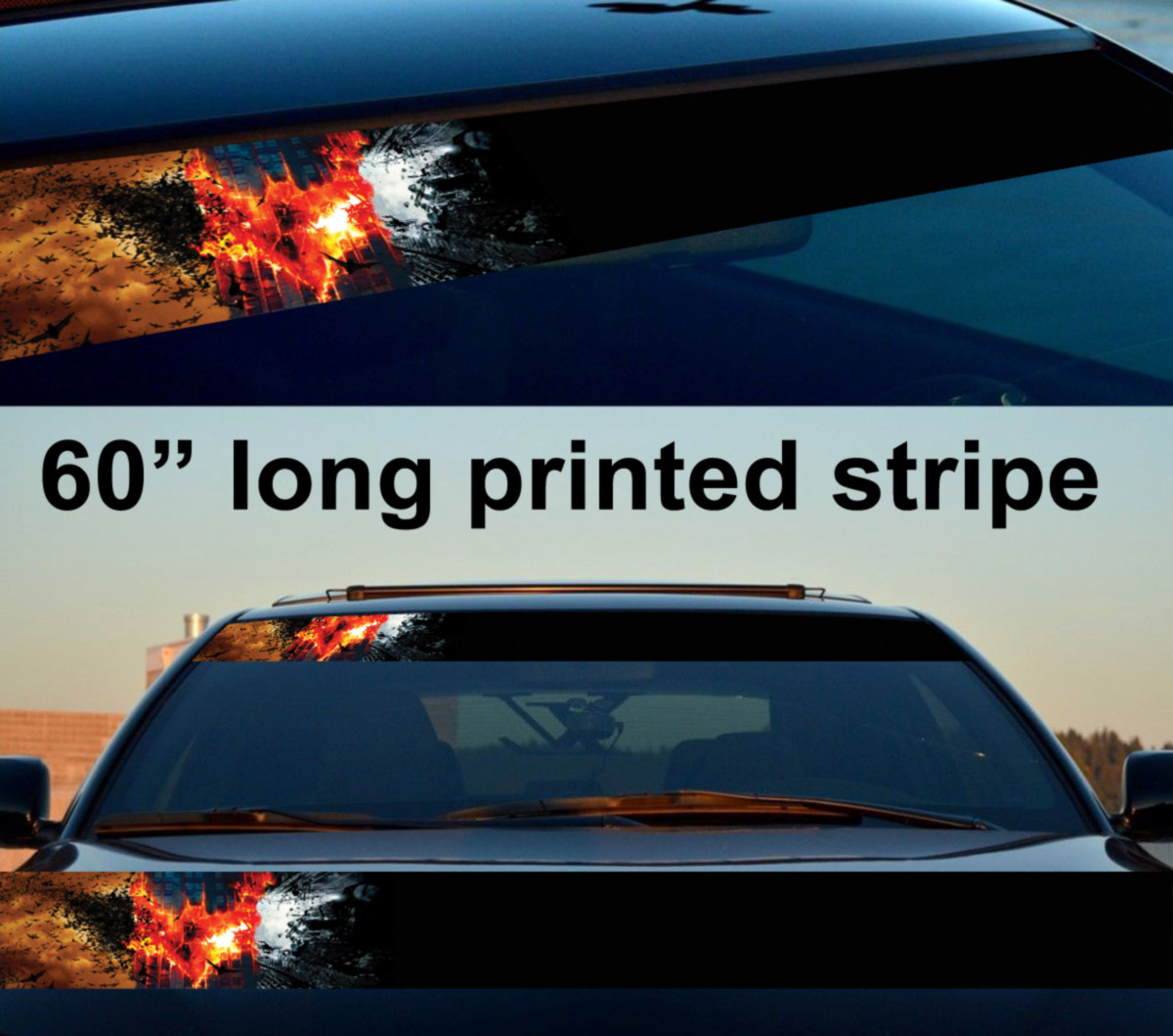 "60"" Bruce Wayne Dark Knight Flame Gotham Sun Strip Printed Windshield Car Vinyl Sticker Decal"