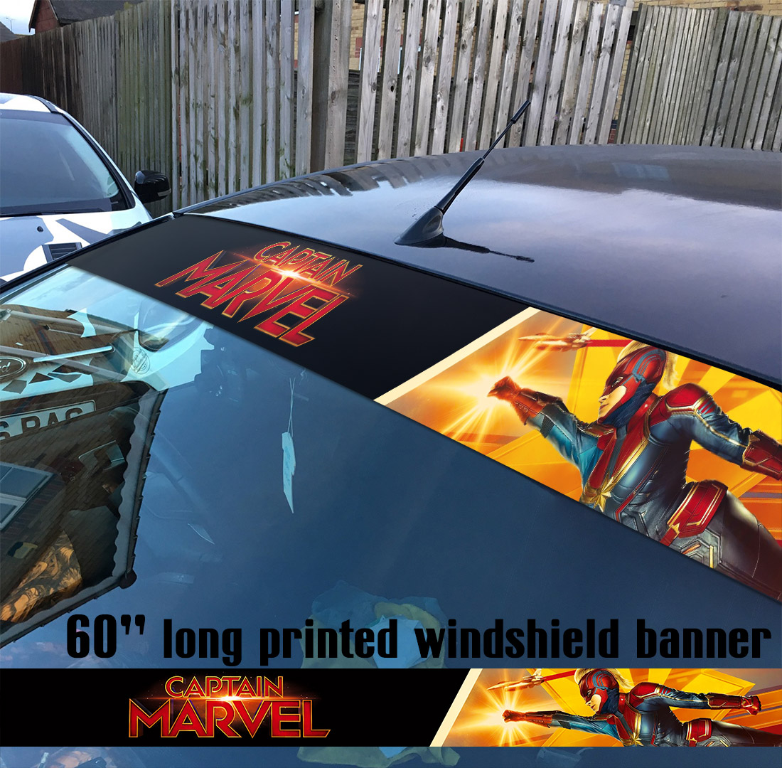 "60"" Captain Marvel Logo Star V4 Carol Danvers U.S. Navy Air Force NASA Kree Empire Car-Ell Thanos Avengers Girl Woman Superhero Comic Movie Sun Strip Printed Windshield Car Vinyl Sticker Decal"