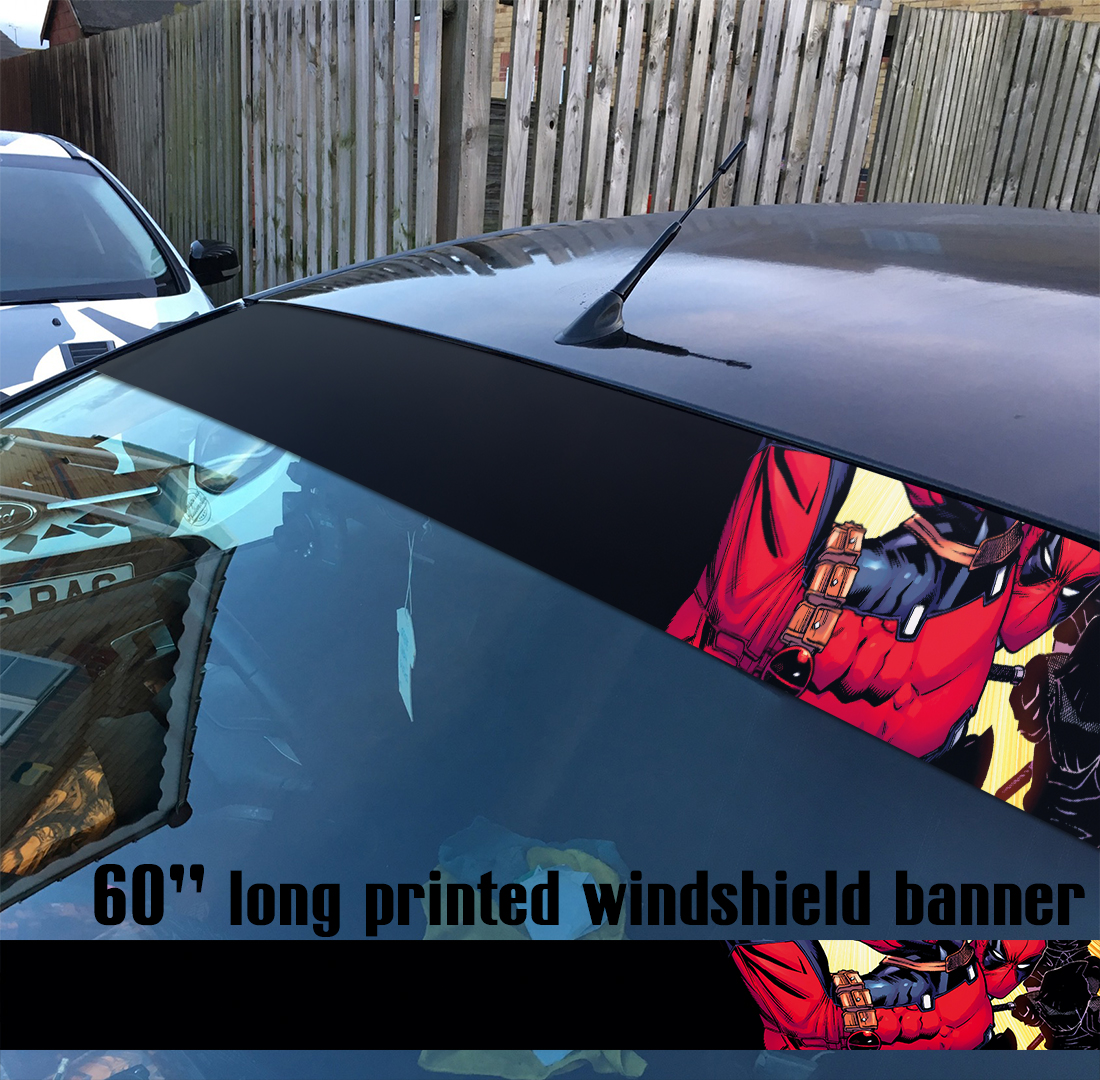 "60"" Wade Wilson Weapon X Bad Badass Antihero Comic Sun Strip Printed Windshield Car Vinyl Sticker Decal"