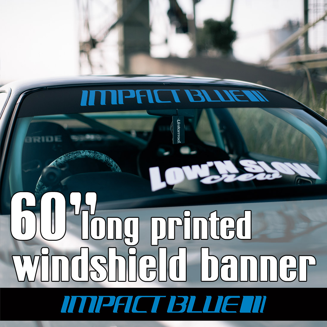 "60"" Impact Blue Team Mako Sayuki Usui Initial D Fujiwara Anime Racing Silvia S13 180SX AE86 Sun Strip Printed Windshield Car Vinyl Sticker Decal"