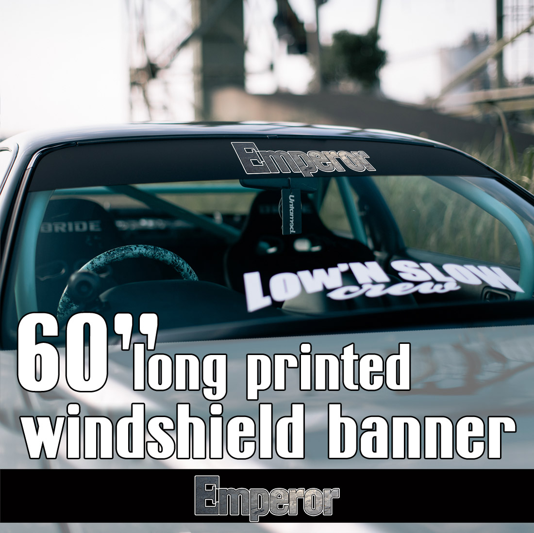 "60"" Emperor Team Kyoichi Sudo Initial D Irohazaka Fujiwara JDM Anime Racing Mitsubishi Lancer Evolution Sun Strip Printed Windshield Car Vinyl Sticker Decal"