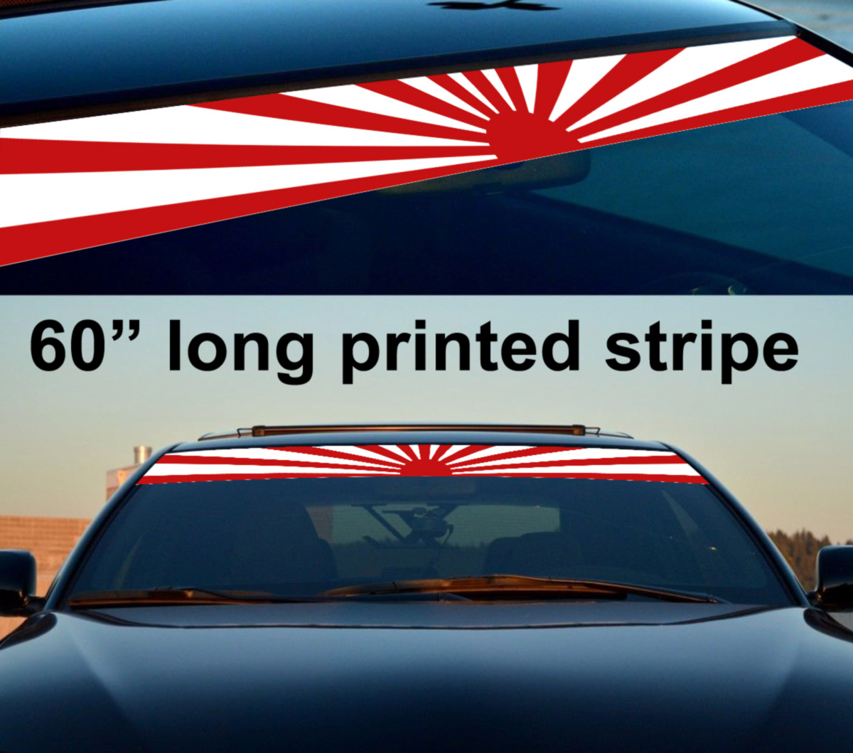 60 jdm rising sun japan daily low strip printed windshield vinyl sticker decal