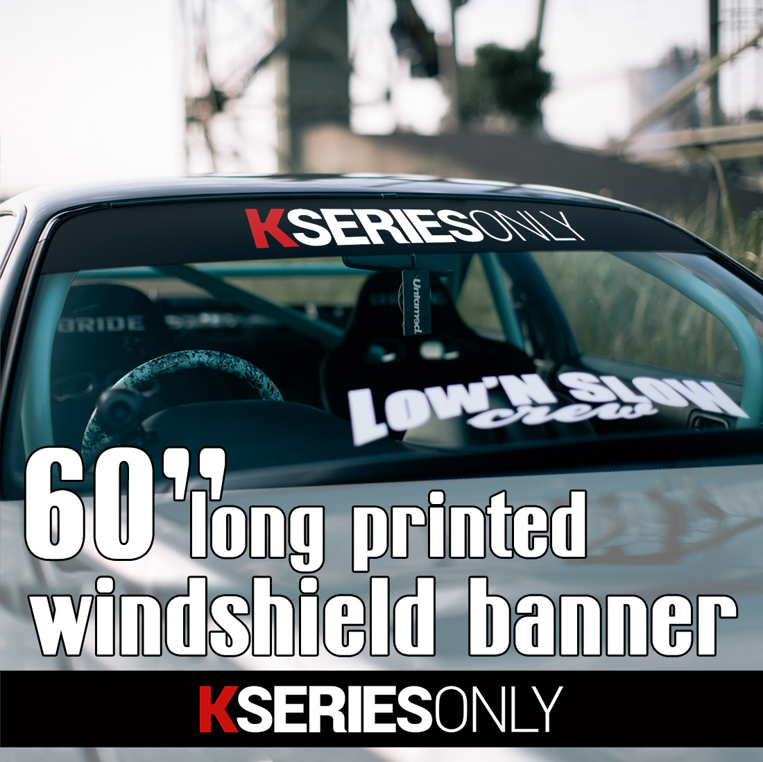 "60"" K Series Only Banner JDM Honda Civic Accord Integra Acura RSX VTEC DOHC Type R Sun Strip Printed Windshield Car Vinyl Sticker Decal#Honda#Acura"