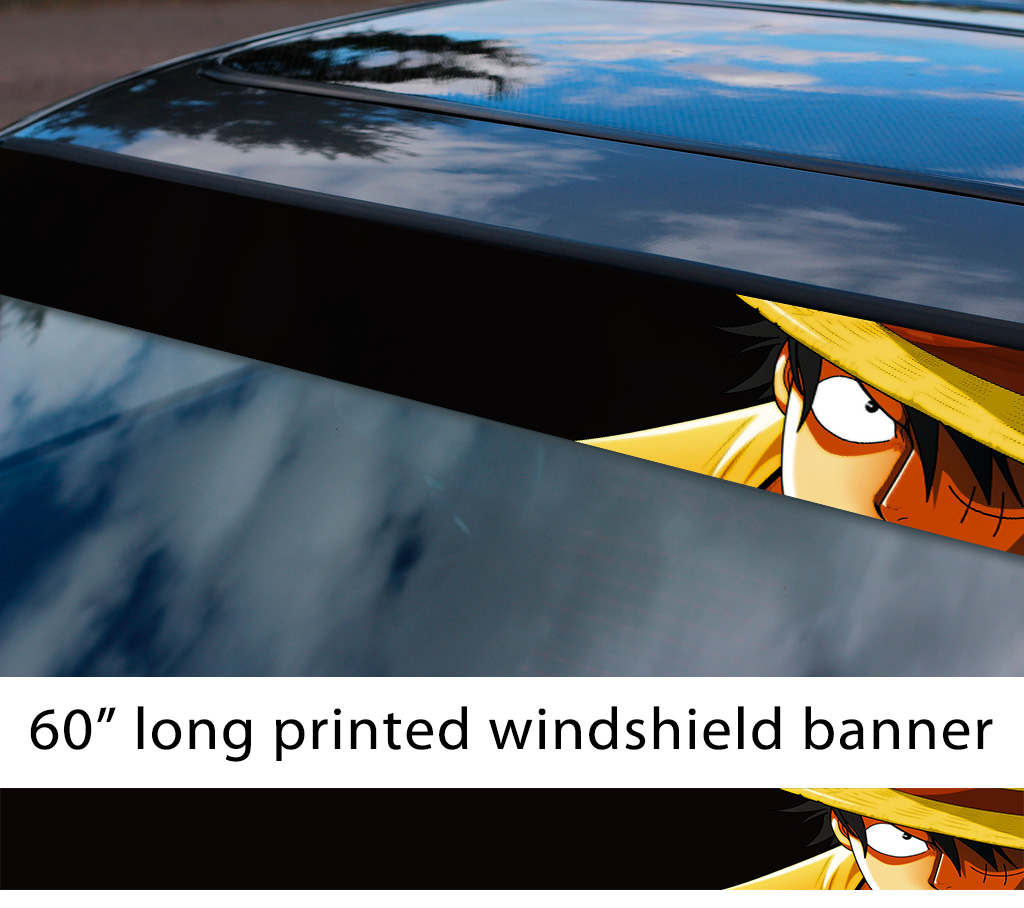 60 one piece v1 monkey d luffy brook pirates king anime manga sun strip printed windshield car vinyl sticker decal