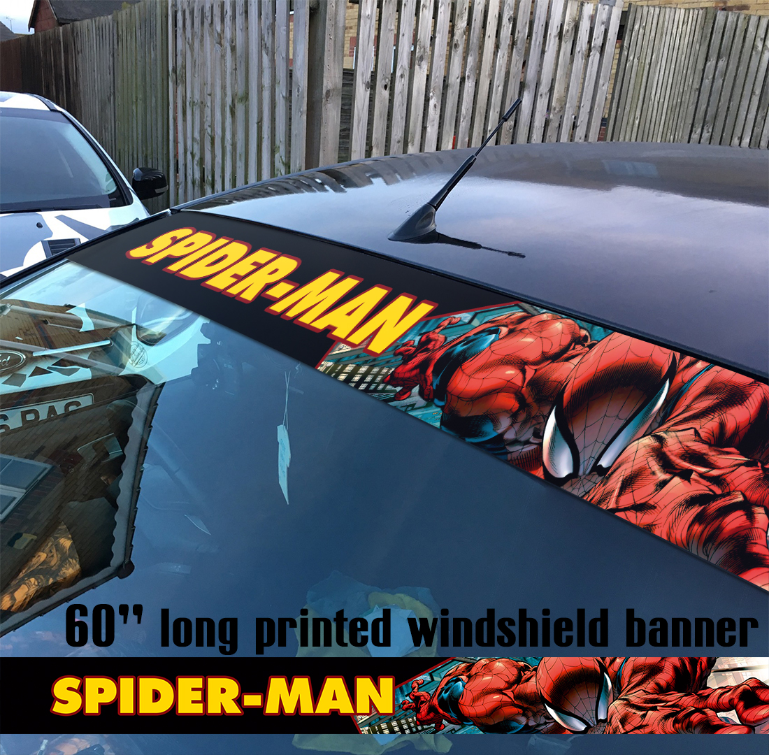 "60"" Spider-Man Superhero Peter Parker Marvel Comics V7 Sun Strip Printed Windshield Car Vinyl Sticker Decal"