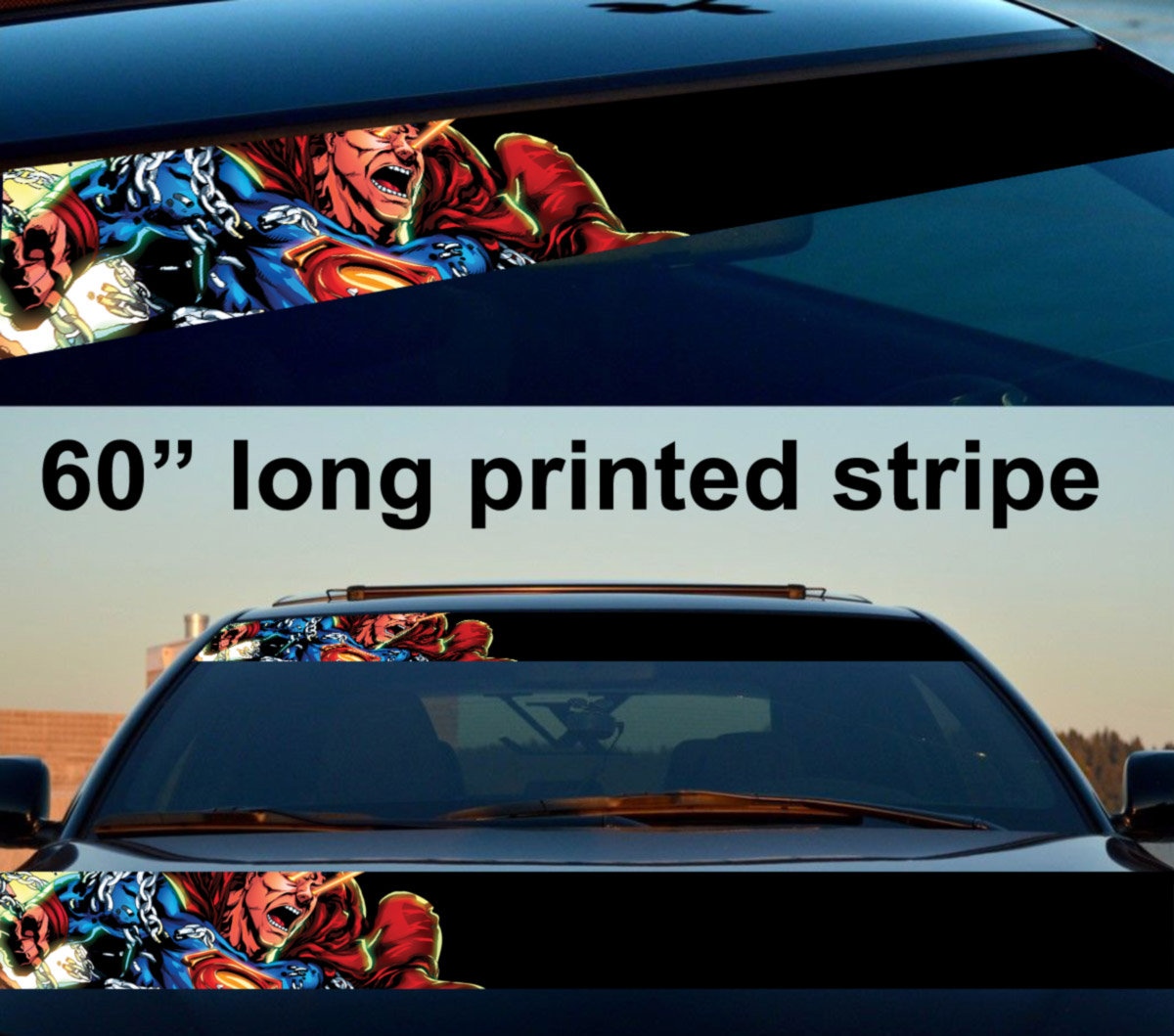 60 superman angry justice league kent dc sun strip printed windshield car vinyl sticker decal