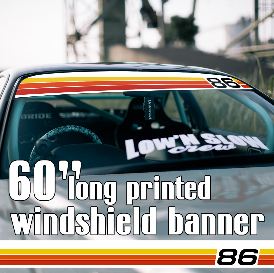 "60"" Retro Racing ANY Numbers Vintage Celica Corolla Carina Supra MR2 Levin Trueno Sprinter トヨタ GT 86 Scion Sun Strip Printed Windshield Car Vinyl Sticker Decal"