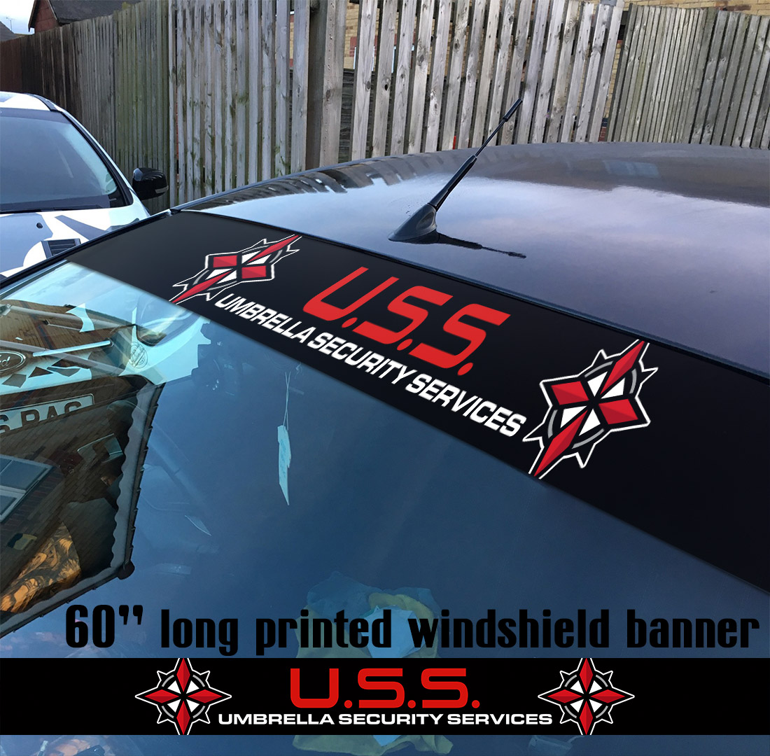 "60"" Umbrella Security Service Corporation USS Evil V2 Game Zombie Outbreak Response Team Sun Strip Printed Windshield Car Vinyl Sticker Decal"