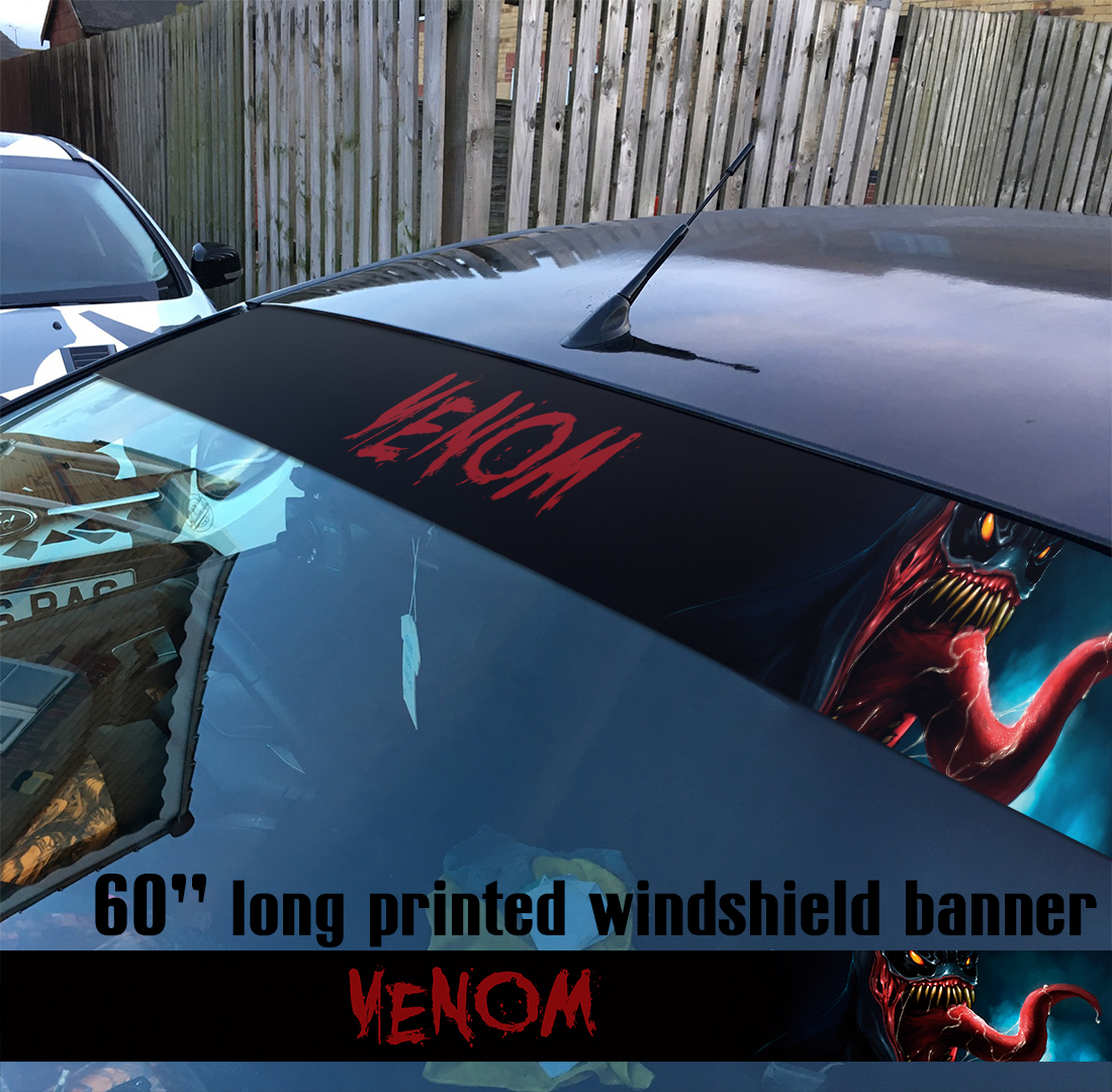 "60"" Venom Symbiote Marvel Antihero Spider-Man V3 Sun Strip Printed Windshield Car Vinyl Sticker Decal"