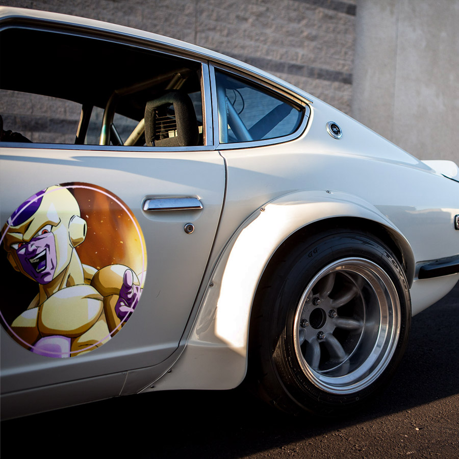 2x Pair Frieza Gold Emperor Universe 7 Dragon Z Super ドラゴンボール DBZ Meatball Rondels Door Circle Printed Vinyl Decal