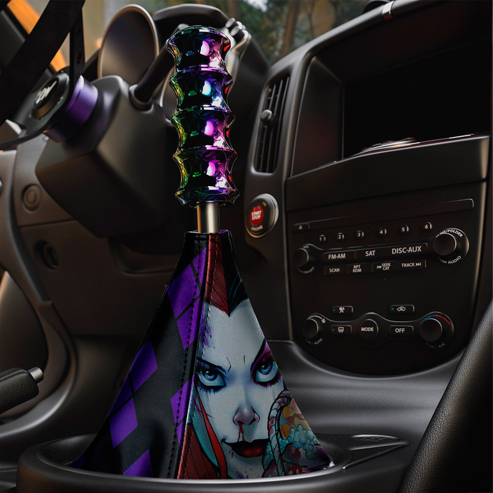 Daddys Lil Monster Puddin Eyes Sexy Hahaha Serious Suicide Comic Eco Leather Printed Car Shift Boot