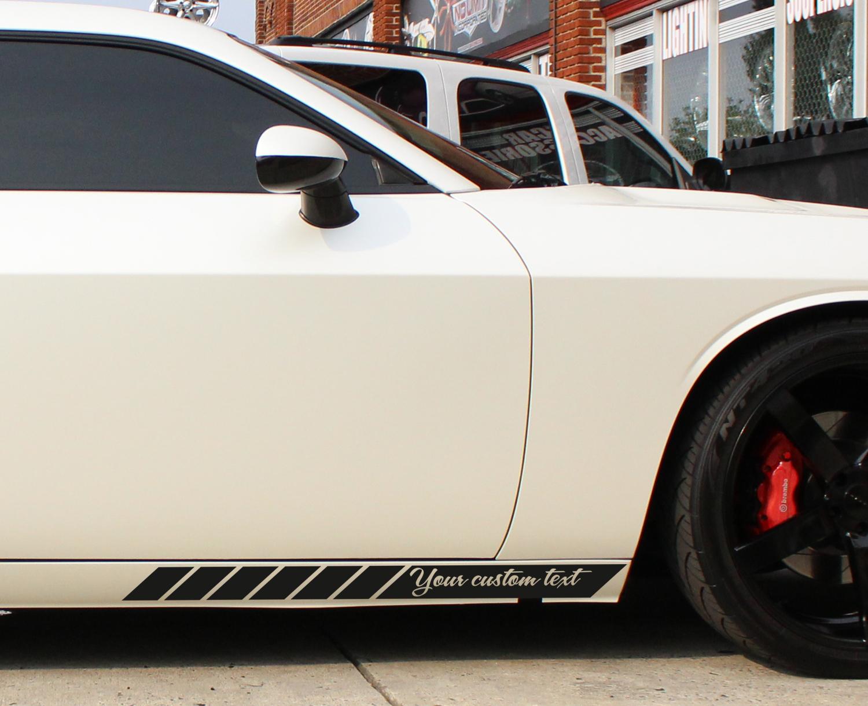 2x custom text side body stripes racing race rally jdm car vinyl sticker decal