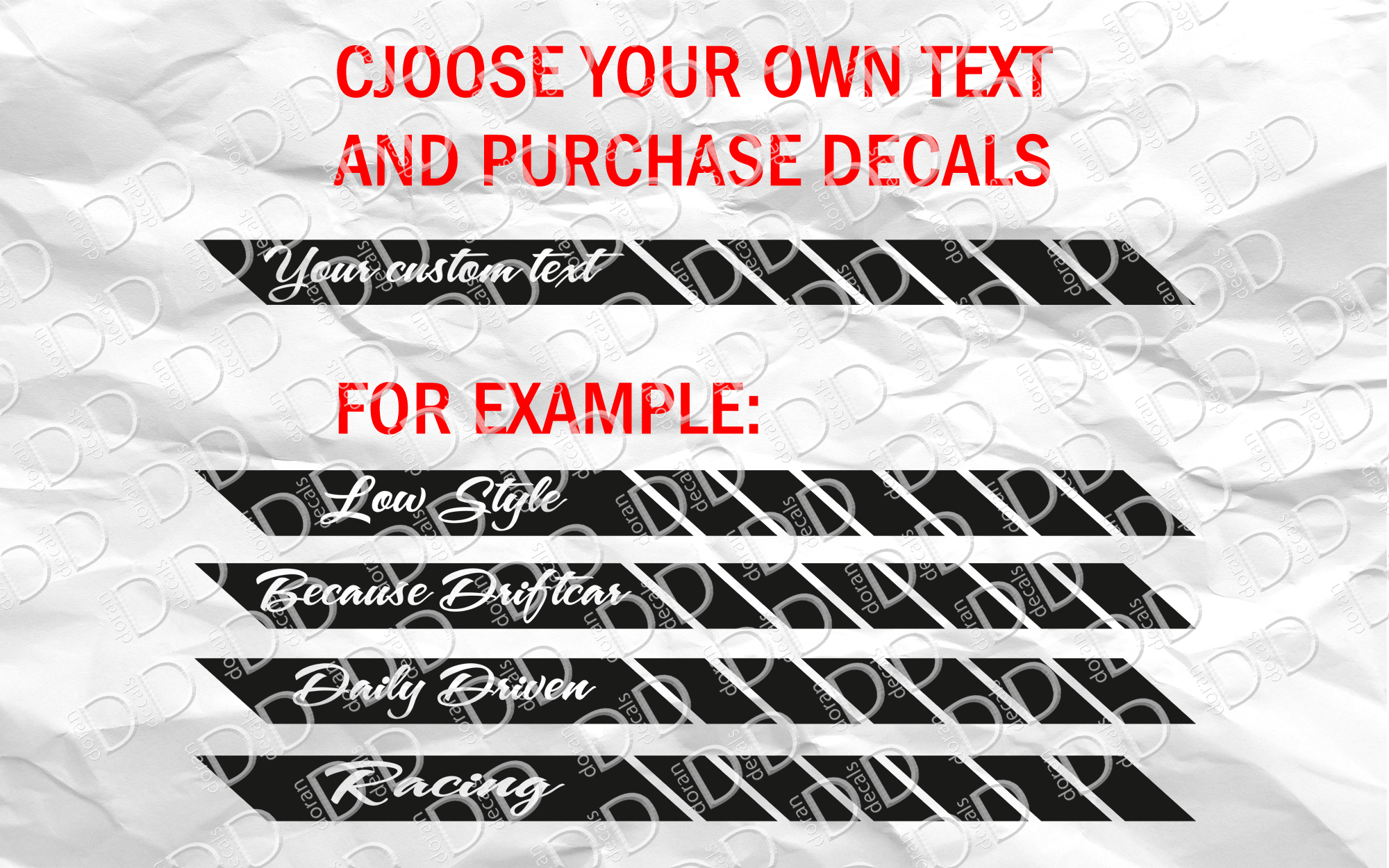 2x CUSTOM TEXT Side Body Stripes Racing Race Rally JDM Car Vinyl Sticker Decal