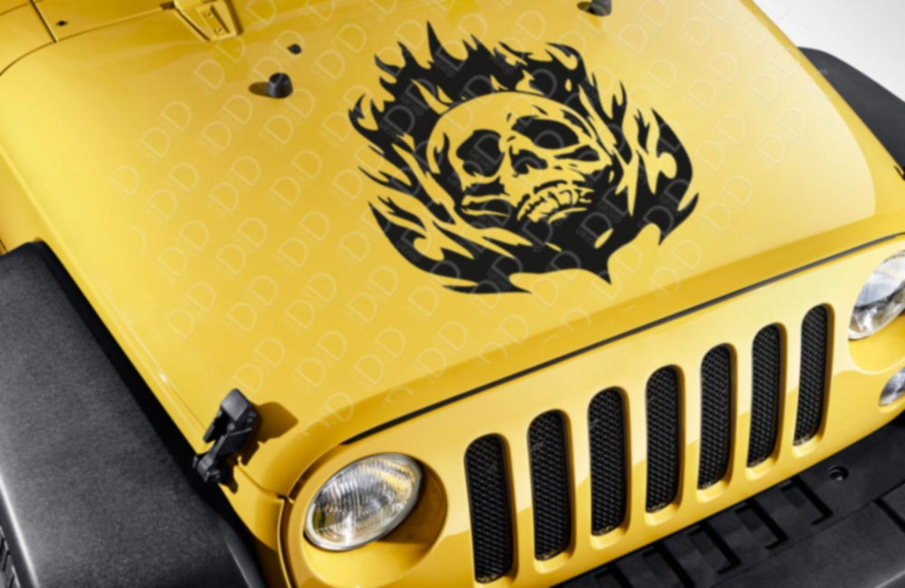 Large Hood Skull Flame Tribal Graphic Hot Rod Rock Punk Car Vinyl Sticker Decal