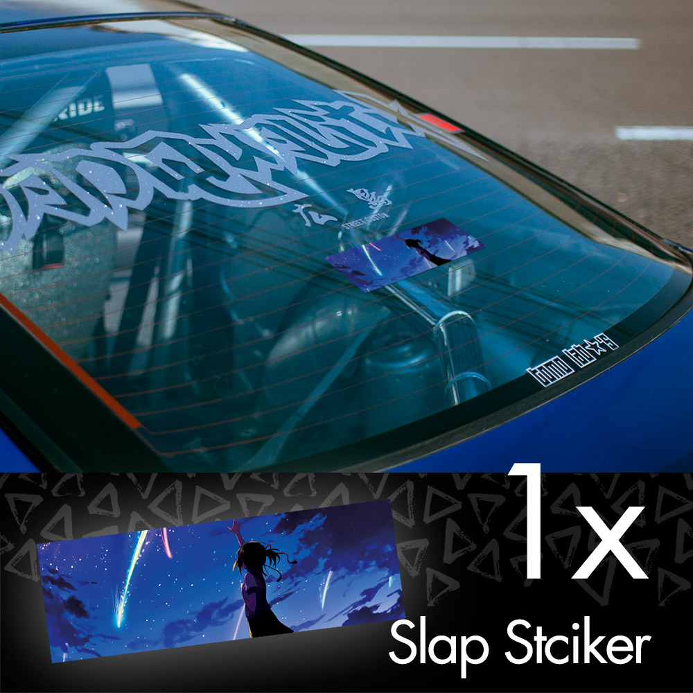 Your Name V2 Kimi no Na wa Mitsuha Miyamizu Taki Tachibana Comet Anime Manga JDM Printed Box Slap Bumper Car Vinyl Sticker