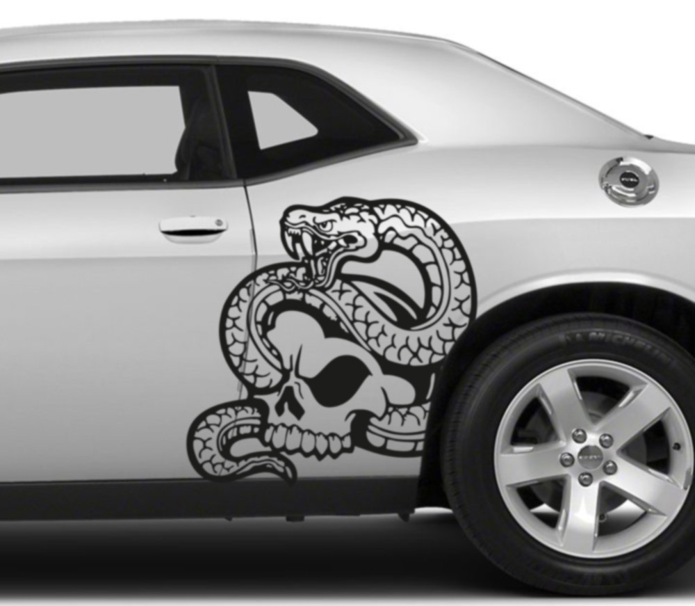 2x Pair Left Right Side Snake Skull Awesome Tribal Decal Car Truck Van Vinyl Decal