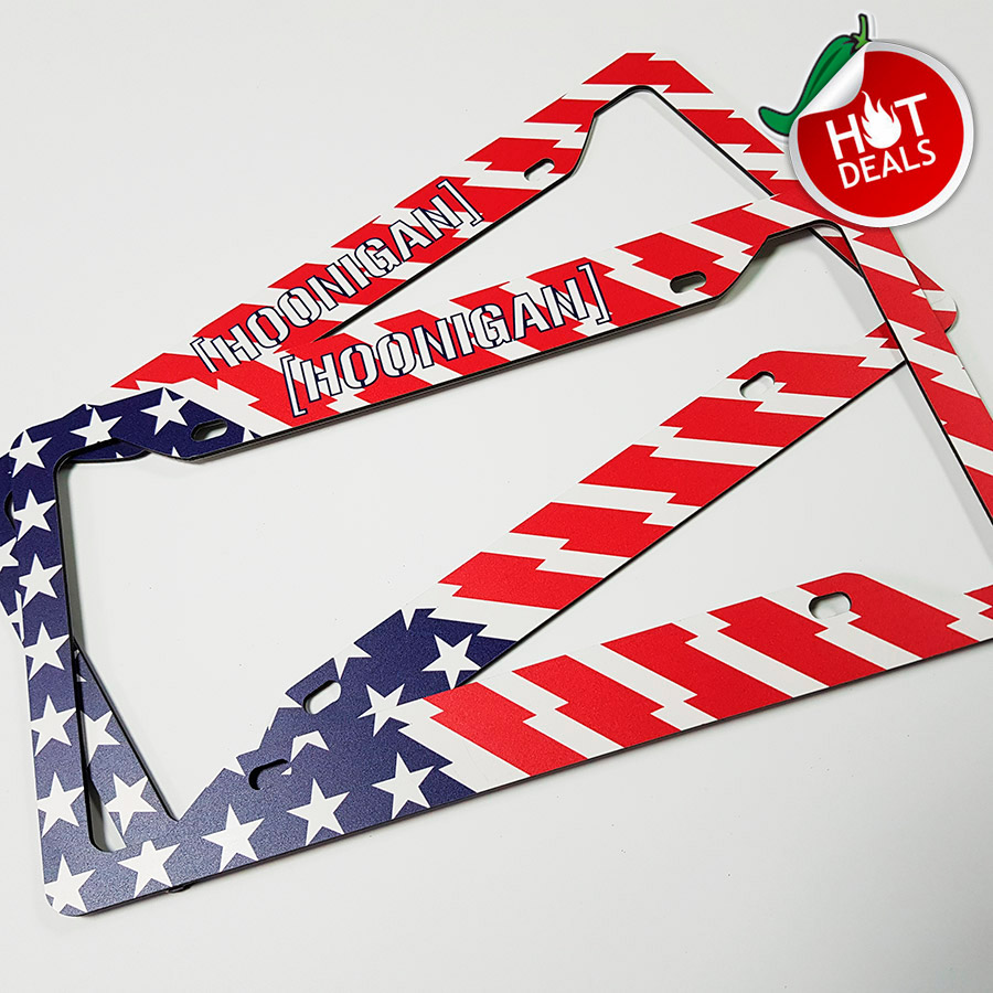 SPECIAL OFFER! Set of two Hoonigan v2 USA Flag Ford Escort Mk2 RS Ken Block Stance JDM Racing Printed Aluminum Composite Car License Plate Frame