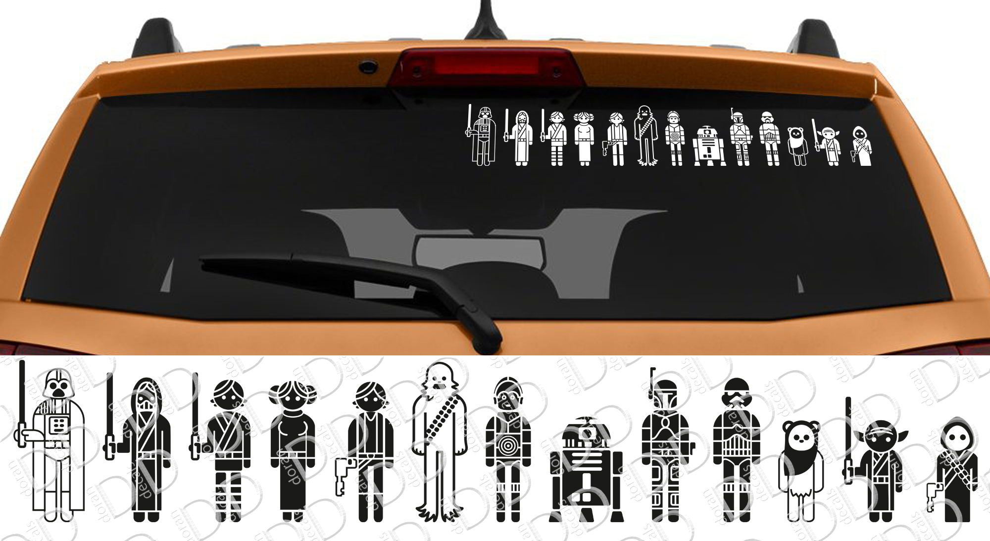 13in1 Family Skywalker Darth Leia Rebel Galactic Empire Jedi R2 D2 Car Laptop Vinyl Sticker Decal
