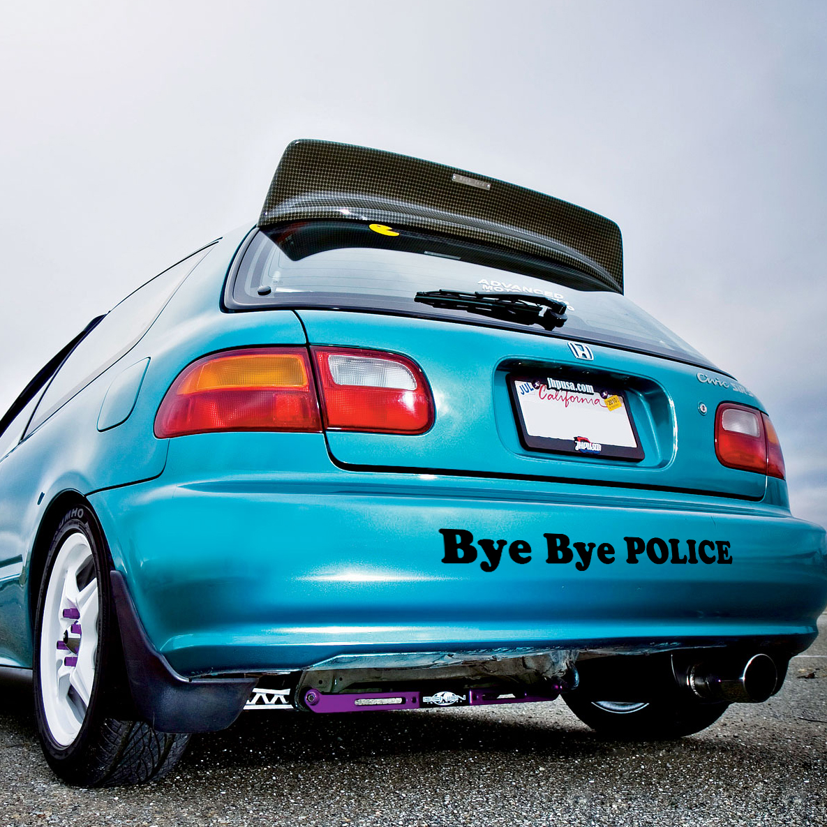 Bye bye police banner loop door osaka jdm kanjo performance kanjozoku honda racing civic ek eg car vinyl sticker decal