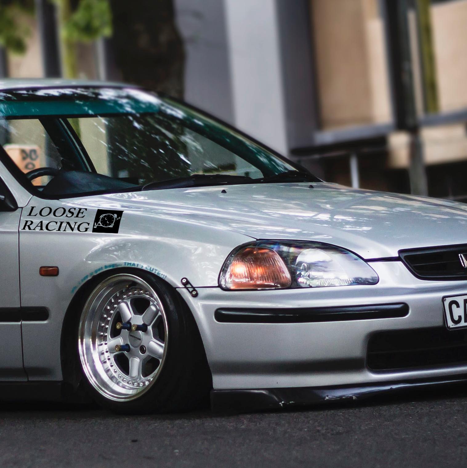 Loose racing logo banner loop osaka jdm kanjo performance kanjozoku honda racing civic ek eg car vinyl sticker decal