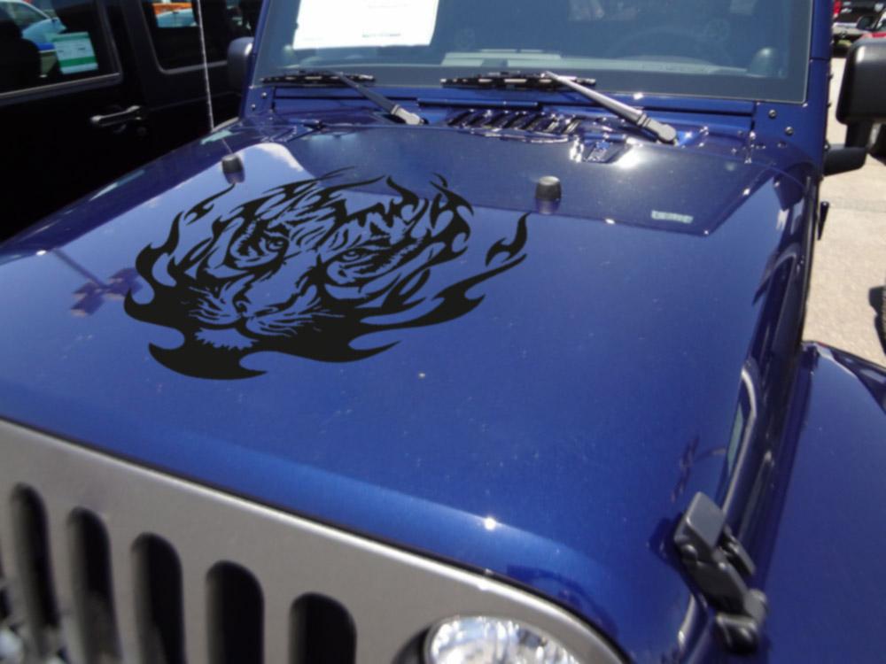 Big tiger flame tribal graphics predator decal car truck van hood vinyl sticker