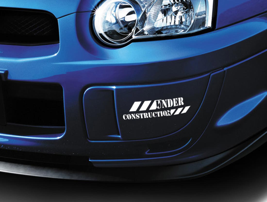 2x Under Construction Stance Lowered Japan JDM Windshield Vinyl Sticker Decal
