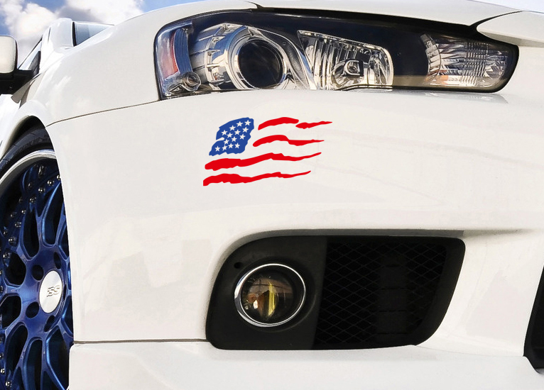 2x Std Reversed USA American Flag Stars Patriotic Car Truck Vinyl Sticker Decal