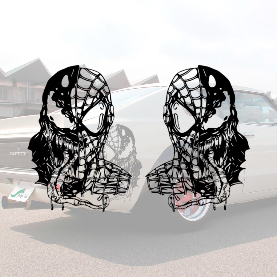 2x Pair Side Venom v1 Eddie Brock Movie Alien Badass Symbiote Marvel Antihero Amazing Spider-Man Car Vinyl Sticker Decal