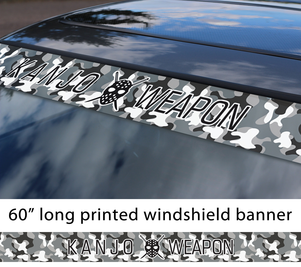 "60"" Kanjo Weapon Mask Osaka Performance Loop Angels Camouflage Civic Printed Sun Strip Windshield Banner Car Vinyl Sticker Decal"