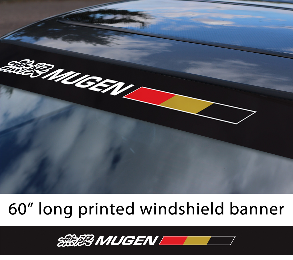 "60"" Mugen Power v3 Kanji Honda Motorsport Racing  JDM Japan Made Printed Sun Strip Windshield Banner Car Vinyl Sticker Decal"