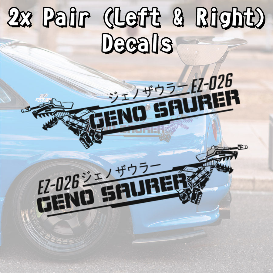 2x Pair Geno Saurer ジェノザウラー Zoids Tyrannosaurus Type EZ-026 Mecha Dinosaur Anime Manga Car Vinyl Sticker Decal