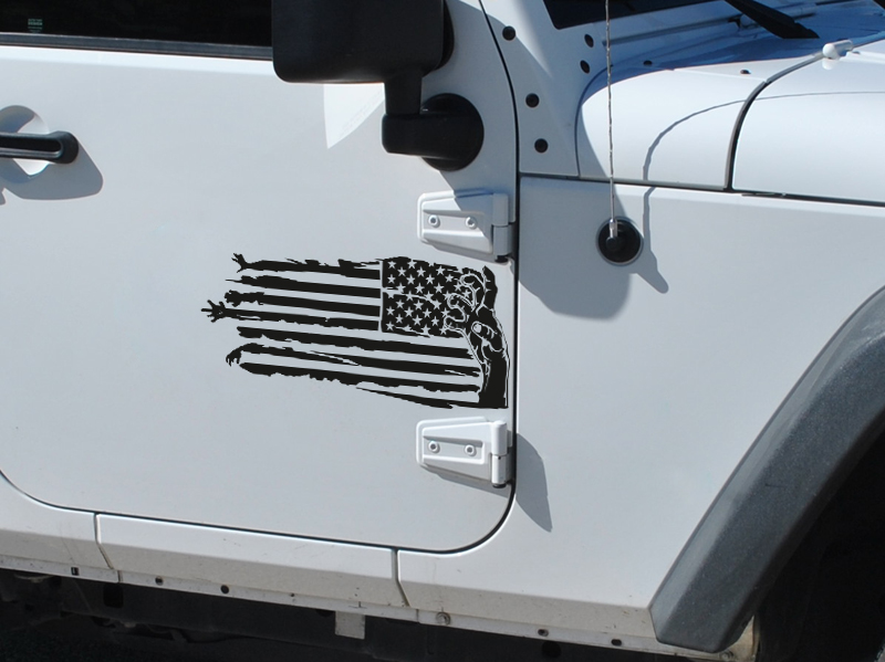 2x Pair Zombie Hand USA Flag Star Stripe Outbreak Response Car Vinyl Sticker Decal