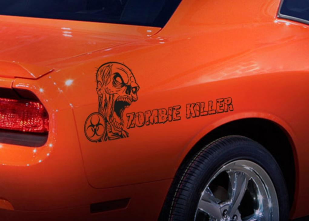 2x Pair Side Zombie Killer Outbreak Response Team Vinyl Decal Walking Car